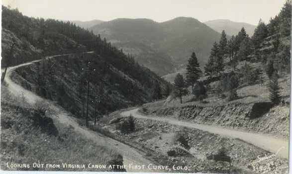 RPPC, Looking Out from Virginia Canon at the First Curve, Colorado, CO , EKC RP