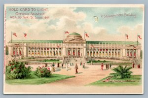 HOLD TO LIGHT 1904 WORLD'S FAIR ST.LOUIS MO ANTIQUE POSTCARD HTL GOV'T BLDG