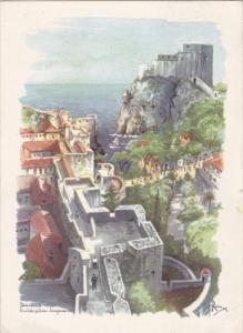 Aerial View, City Walls, DUBROVNIK, Croatia, PU-1965