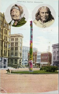 Totem Pole Seattle WA Chief Seattle Princess Angeline Benham Postcard F75 *as is