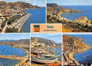 Spain Rosas Costa Brava, Promenade Voitures Cars Beach Boats Bateaux Panorama