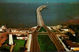 Texas South Padre Island Queen Isabella Causeway With Port Isabel Lighthouse ...