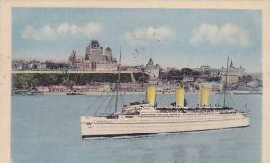 Empress of Britain in front of Chateau Frontenac, Quebec, Canada, PU-1940