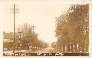 Oelwein Iowa~First Avenue East~2 Story Homes Both Sides~1916 Real Photo~RPPC