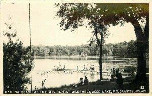 bathing Beach Baptist Assembly Grantsburg Wisconsin 1950s RPPC Postcard 12182