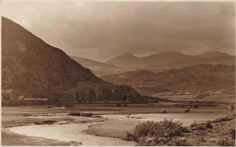 Vintage Sepia REAL PHOTO Postcard SNOWDON from Lledr Valley WALES by Judges