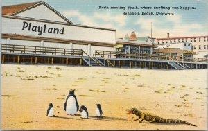 Rehoboth Beach Delaware Playland Penguins Alligator Unused Linen Postcard G21
