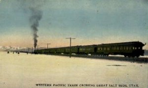 Western Pacific Train Crossing, Great Salt Beds, Oregon, OR, USA Railroad Tra...
