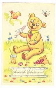 Hartelijk Gefeliciteerd : Happy Birthday Greetings, Teddy Bear, Bird, & But...
