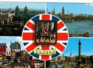 Postcard London 5 views + Union Flag