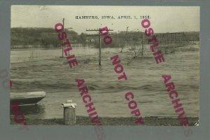 Hamburg IOWA RPPC 1912 FLOOD Flooding WAGON BRIDGE nr Shenandoah Sibley Riverton