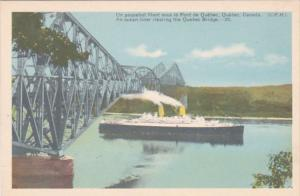 Canada Quebec Ocean Liner Clearing The Quebec Bridge