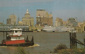 NEW ORLEANS, Louisiana, 40-60s; Skyline looking over Mississippi River
