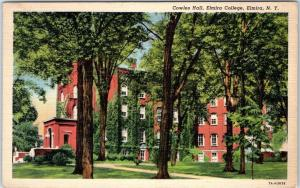 Elmira, New York Postcard Cowles Hall, ELMIRA COLLEGE Curteich Linen 1946