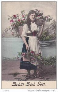 Girl with baskets of Flowers - Behüt Dich Gott - God keep thee , 00-10s