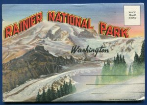 Rainier National Park Washington Lake Spanaway Nisqually Glacier postcard folder