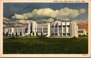 VINTAGE POSTCARD BAILEY JUNIOR HIGH SCHOOL JACKSON MISSISSIPPI MS. CLOUDY DAY
