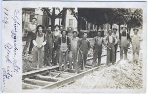York PA Railroad Workers Pick Axes Real Photo RPPC Vintage Postcard