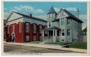 1915-1930 Jersey Shore PA M.E. Church & Parsonage Rubright-Prevost RARE Postcard