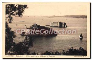 Old Postcard Carantec L'Ile Louet And The Chateau Du Taurus
