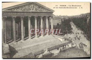 Old Postcard Paris Madeleine and the Grands Boulevards