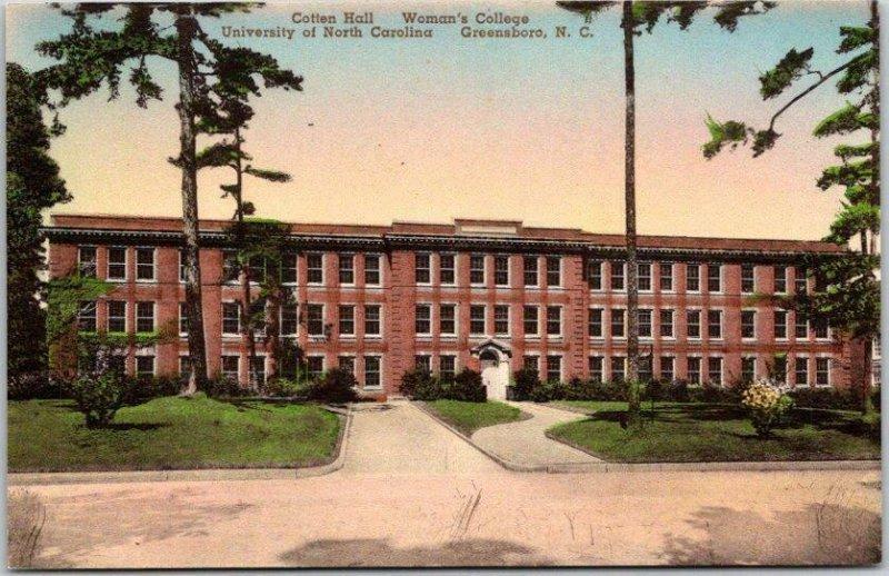 Greensboro, NC HAND-COLORED Postcard Laura Cotten Hall / UNC Woman's College