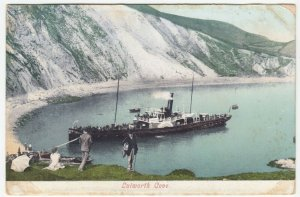 Dorset; Lulworth Cove PPC, 1904, To Miss Masters, Bognor, Note Paddle Steamer