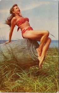 Young Pretty Woman Bikini Posing Beach Wood Risque Pinup Vintage Postcard F79