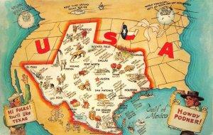 LPM50 Texas U.S.A. Map Chrome Postcard Views