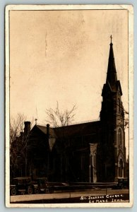 Le Mars Iowa~St Joseph Church~Vintage Cars~1925 RPPC