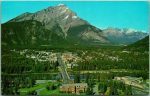 BANFF, Canada Postcard Aerial View Banff with Cascade Mountain 1967 Cancel