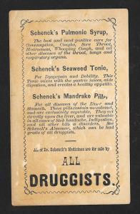 VICTORIAN TRADE CARD Schenck's Pulmonic Syrup