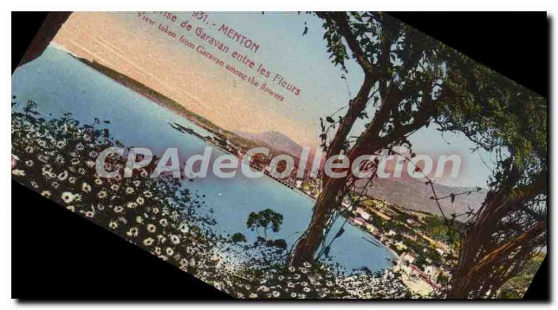Old Postcard Menton Garavan View from between flowers
