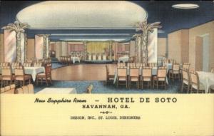 Savannah GA Hotel De Soto Sapphire Room ART DECO Linen Postcard
