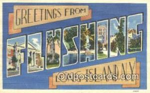 Flushing, Long Island, NY USA Large Letter Town Vintage Postcard Old Post Car...