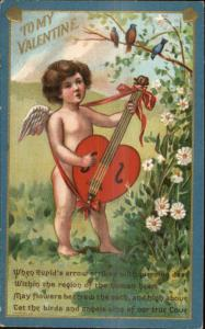 Valentine c1910 Postcard - Cupid Playing Heart Guitar