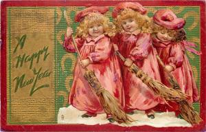 New Year~Brundage Girls in Pink \ Sweeping Snow~Hay Brooms~Red Gold Border~TUCK