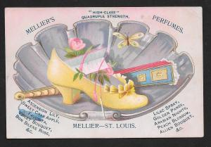 VICTORIAN TRADE CARD Melliers Perfumes Yellow High Heel & Fan in Shell Dish