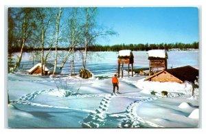 Postcard Trappers Camp on Frozen Sucker Lake, Alaska AK 1960's AJ17