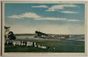 White Border Postcard Naval Training Station Drill Grounds, Newport, RI Unused