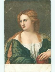Unused Pre-Linen foreign GERMAN WOMAN - PAINTING ON POSTCARD J2829