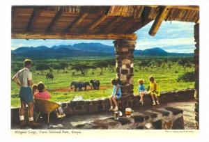 View of elephants from porch,Kilaguni Lodge,Tsavo National Park,Kenya,50-70s