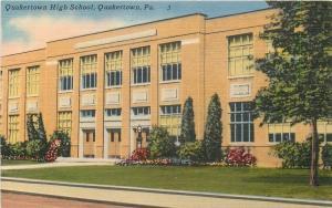 Quakertown Pennsylvania~Quakertown High School~Street View~Linen~1953 Postcard