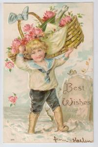 Best Wishes Embossed Boy w Basket of roses Champagne Bottle