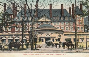LAKEWOOD, New Jersey, PU-1908; Main Entrance, Laurel in the Pines Hotel