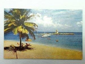 Vintage Postcard Tower Isle Hotel Jamaica B.W.I. Beach and Tower