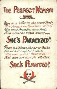 Skull & Crossbones THE PERFECT WOMAN c1910 Postcard - Misogyny