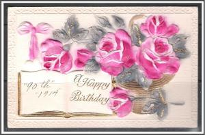 A Happy Birthday - Roses  - Embossed - [MX-183]