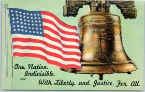 1940s WWII Patriotic Postcard Liberty Bell U.S. Flag Liberty & Justice for All