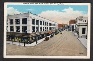 MA Granite Blk Bank Main St FALL RIVER MASS Postcard Massachusetts